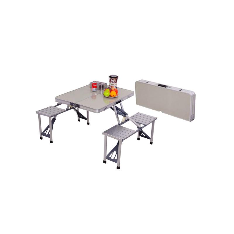 Table de plage en aluminium + 4 tabourets intégrés