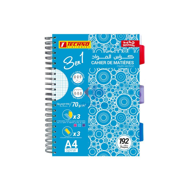 Cahier de matières TECHNO 192 pages